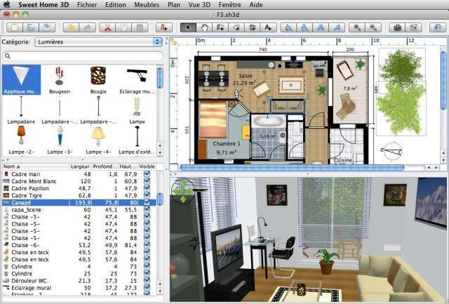 планировка интерьера в программе Sweet home 3D
